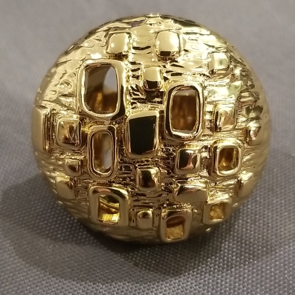 Trina Turk Jewelry - TRINA TURK Gold Round Perforated Cocktail Ring